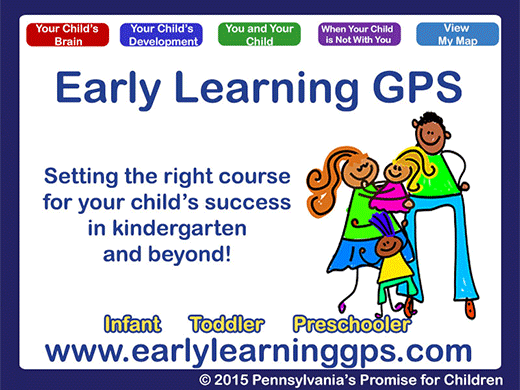 Early Learning GPS logo and example of site interface - Setting the right course for your child's success in kindergarten and beyond