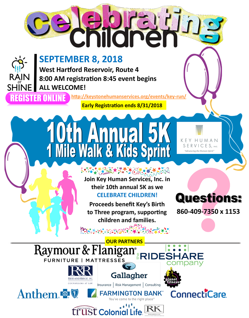 Event flyer for Celebrating Children 10th Annual 5K 1 Mile Walk and Kids Sprint - September 8, 2018